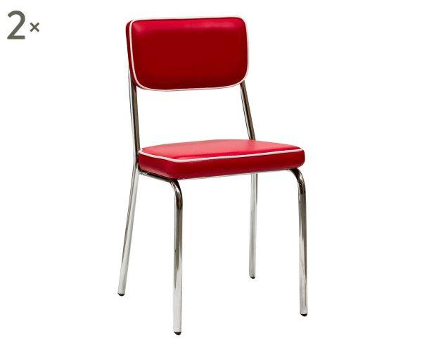 Set di 2 sedie in metallo Hollywood rosso