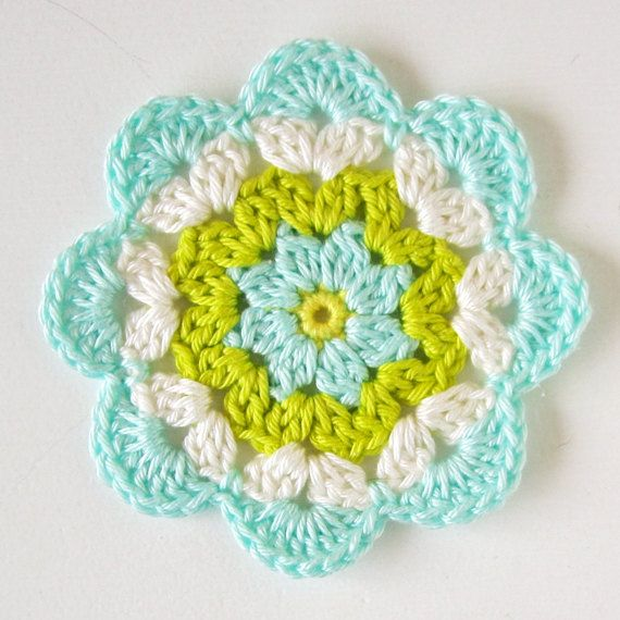 6 Crochet Flower Coasters Light Blue Green by ColornCream on Etsy, $19.95