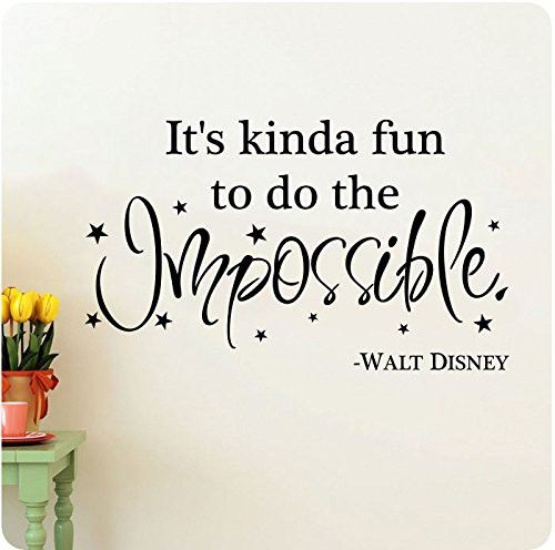 "38"" It's Kinda Fun To Do The Impossible Walt Disney Wall Decal Sticker Art Mural Home Décor Quote Lettering"