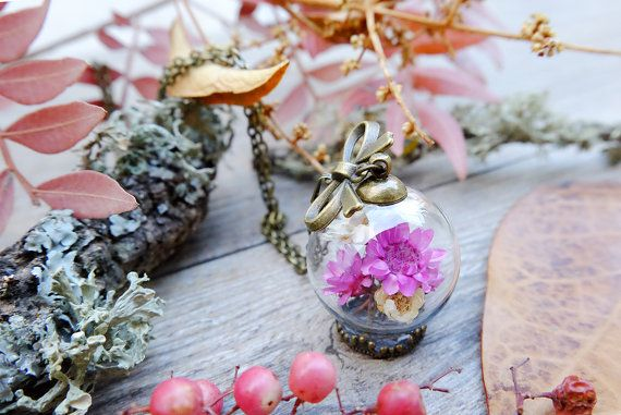 Collare di fiori secchi gioielli botanici di SiamesaProject