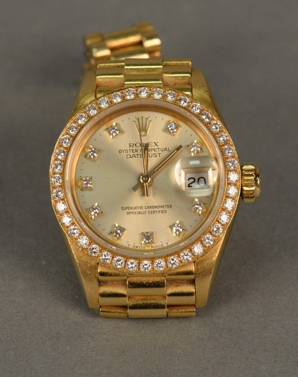 Rolex 18K gold ladies wristwatch, Oyster Perpetual Datejust superlative chronometer ~ Realized Price $9,000.00