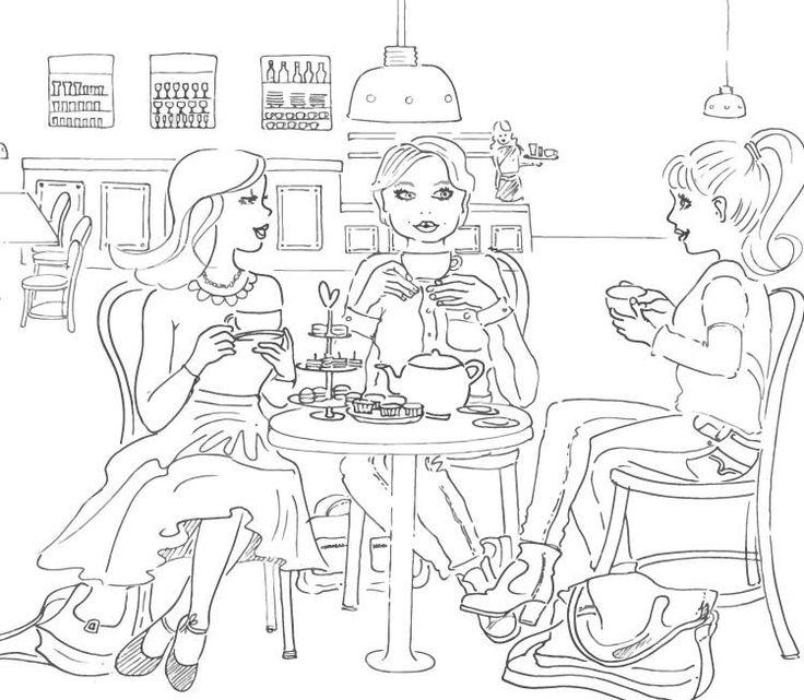 High tea with the girls #illustratie #illustration #blackandwhite #lijntekening #hightea fantazien.nl