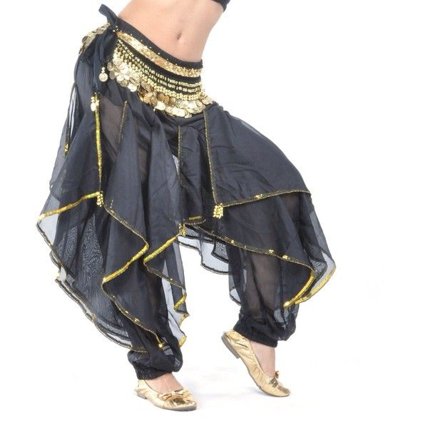 BellyLady Belly Dance Harem Pants Bollywood Arabic Dance Tribal... ($13) ❤ liked on Polyvore featuring costumes, tribal costume, belly dancer halloween costume, belly dance costume and tribal belly dance costume