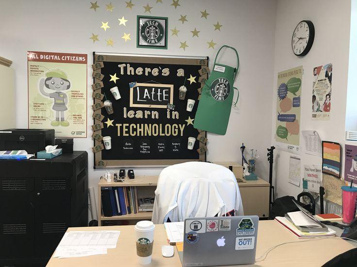 Technology bulletin board. Starbucks theme.