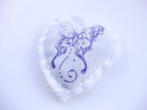 Sacchetto lavanda/cuore/tela di cotone/stampa di MarinellArt