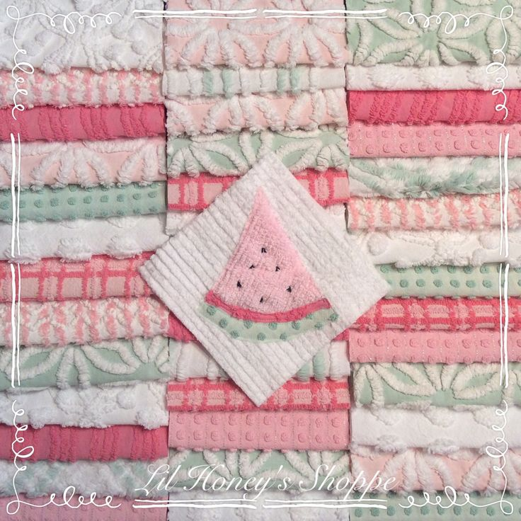 """Chenille fabric quilt squares 42-6"""" blocks, Sweet Watermelon ,Pink and green, shabby chic, vintage bedspread fabric by lilhoneysshoppe on Etsy"""