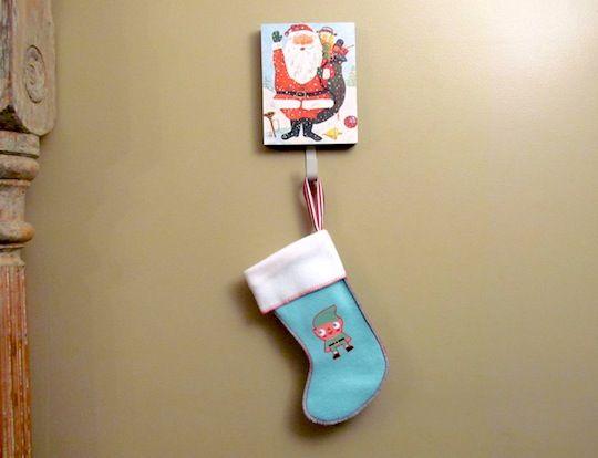 DIY stocking hanger.
