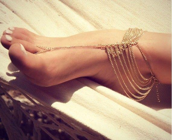 Летом Стиль, сплав с Покрытием Золото Варежки Многослойные Браслет Цепь Ноги Браслет Ноги Украшения Пляж Аксессуар
