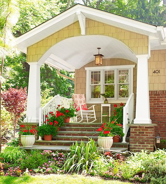 Beautiful Curb Appeal!: Plants Can, Rocks Chairs, Craftsman Style, Curb Appeal, Porches Ideas, Front Entrance, House, Red Geraniums, Front Porches