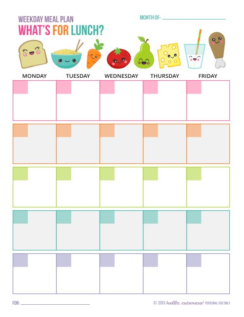 {Free Printable} What's For Lunch planner from Hello, Cuteness!