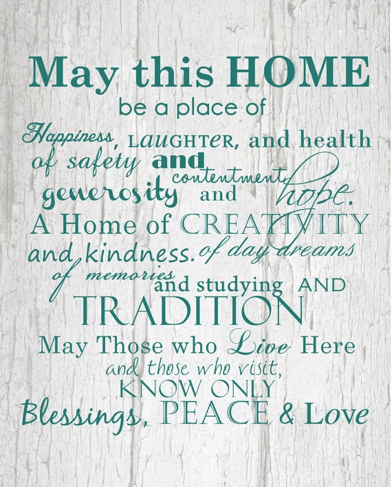 Home and Family Print 8x10 by HelloLoveBoutique on Etsy, $15.00  May we all have those in our homes!
