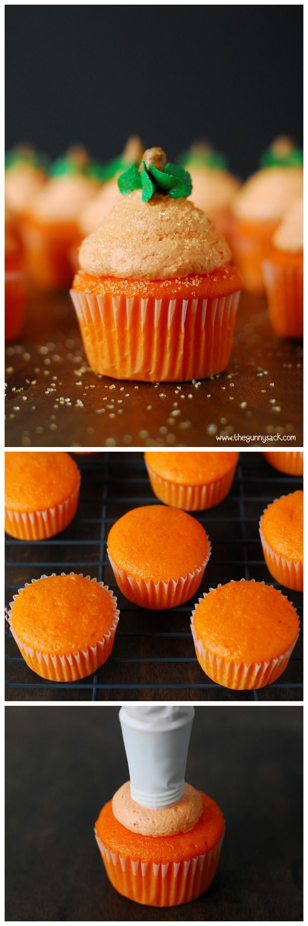 These Pumpkin Cupcakes are frosted with marshmallow buttercream in the shape of a pumpkin! They are perfect for Halloween and for fall parties!