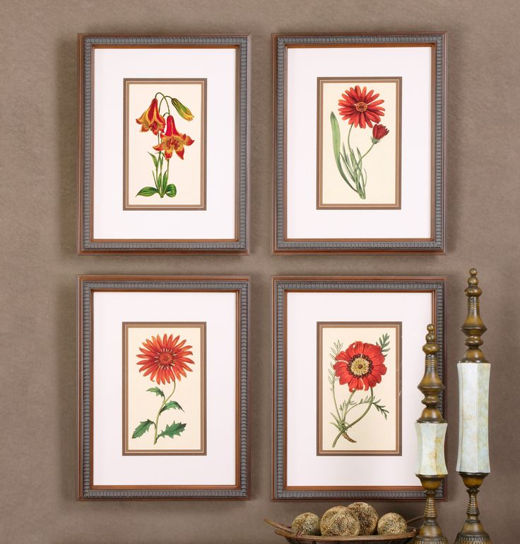 Traditional botanical wall art these floral prints are accented by medium brown inner mats dark brown middle mats and off white linen outer mats