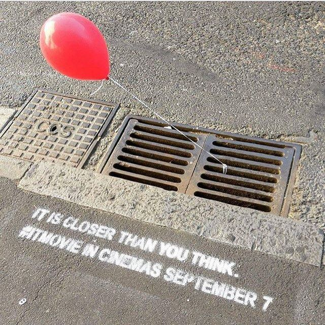 We're a little obsessed with this #guerrillamarketing for #itmovie in Australia... what do you think of these clever chalk stencils?  •  •  •  #marketing #marketingagency #experientialmarketing #experiential #chalkstencils #sidewalkstencils #guerillamarketing #australia