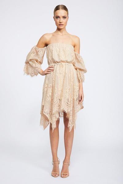 Lace Off The Shoulder Mini | Nude | Cocktail Dresses | Shona Joy | Shona Joy USA