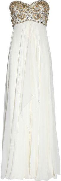 MARCHESA Beaded Silk-chiffon Gown