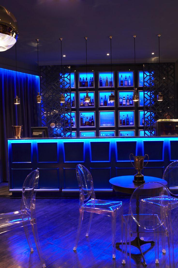 Boutique hotel | Bar | Lounge | Blue | Led | Victoria Ghost | Kartell | Gregor Jenkin table | Decanter pendants | Etienne Hanekom Interiors