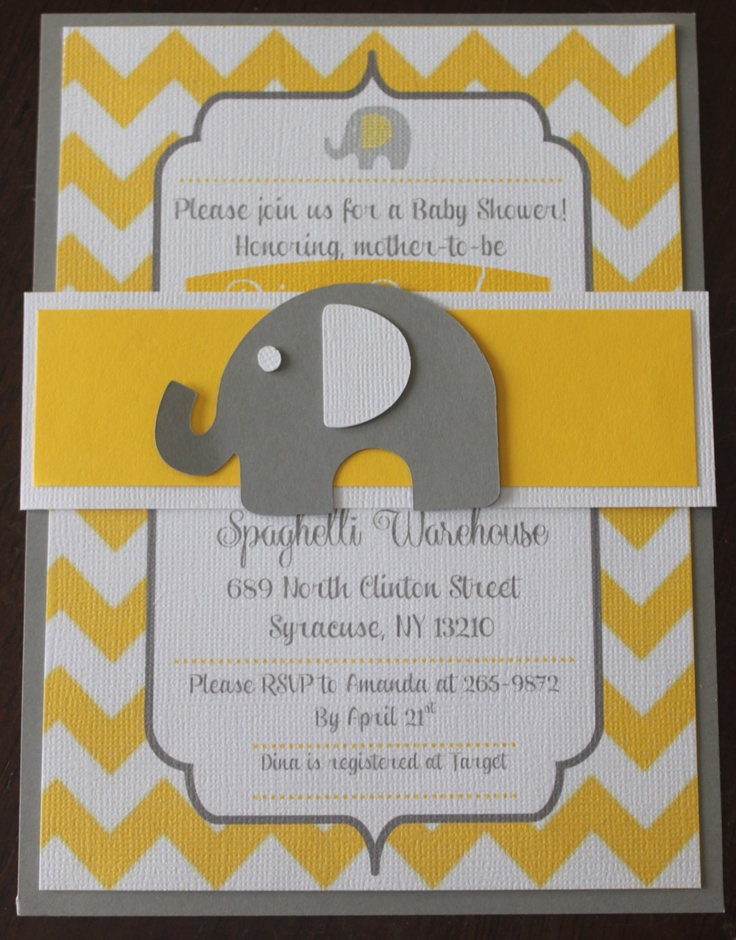 Elephant Chevron Baby Shower Invitation with Wrap by TheCuteCut