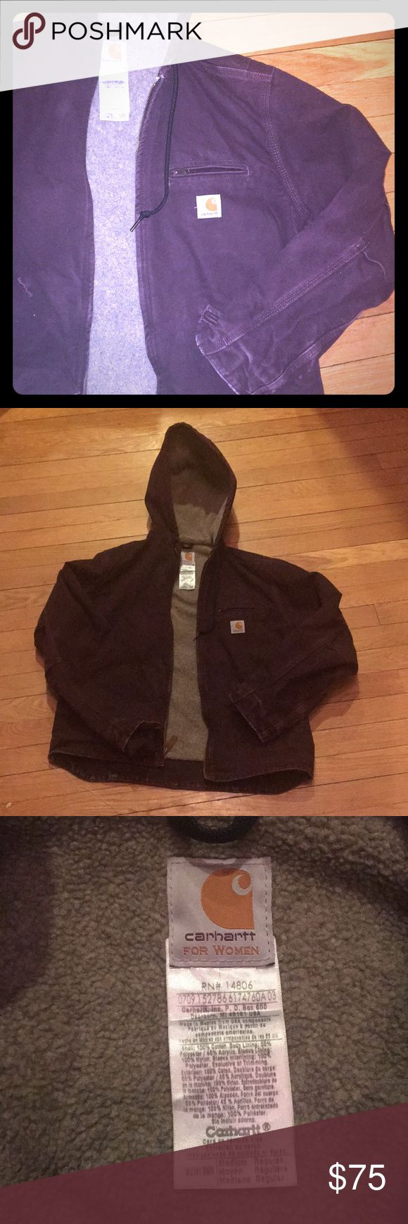 Carhartt eggplant dark purple winter jacket Amazingly warm jacket. I used to wear often, but no longer work in the field but the office so clearing out the closet. Some wear on the color, but just looks worn in, great condition and tons of life left! Carhartt Jackets & Coats Utility Jackets