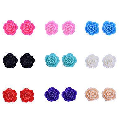 Lureme Colorful Rose vite prigioniera di figura Set Orecchini (9 coppie per set) – EUR € 2.57