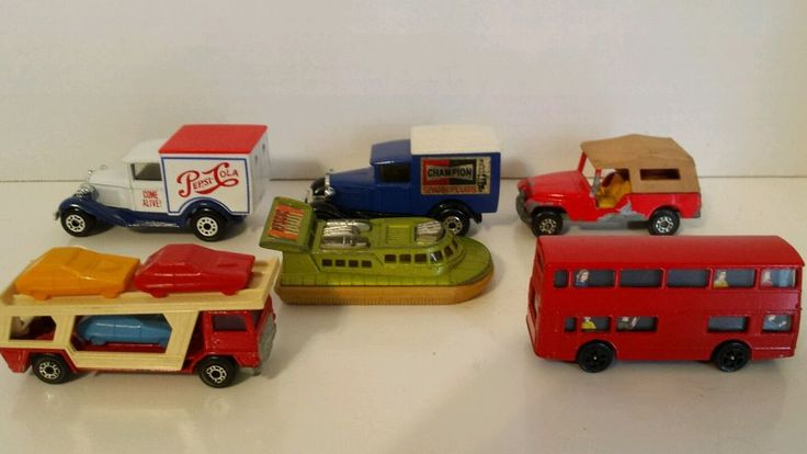 Matchbox lot 6 CAN BE USED AS CAKE TOPPERS! Vintage Hovercraft Jeep CJ6 Model A Ford Pepsi Champion Corgi #Matchbox