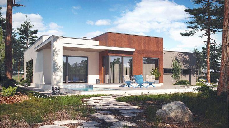 Minimalistyczna architektura wyróżnia się oryginalnym designem, z motywami regularnych podziałów oraz stonowanym tynkiem z dominantą wyraźnego koloru.