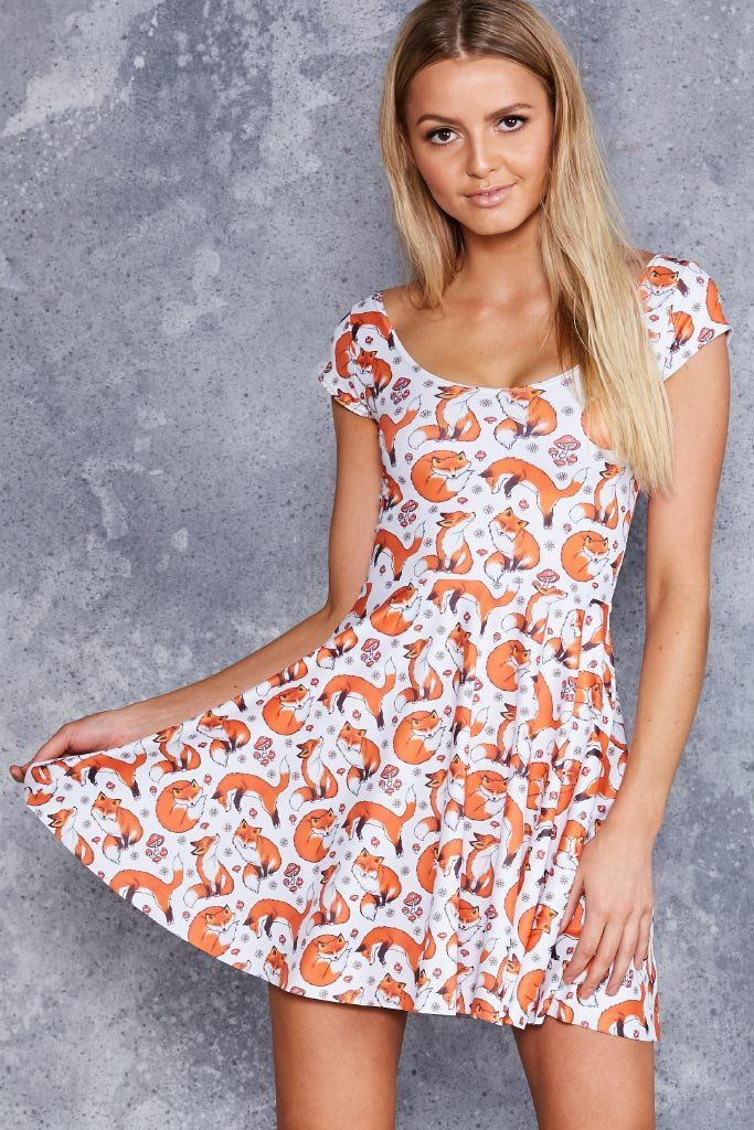 For Fox Sake Cap Sleeve Skater Dress