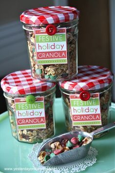 Festive Holiday Granola, a budget friendly holiday gift for friends and family. Perfect for Christmas!