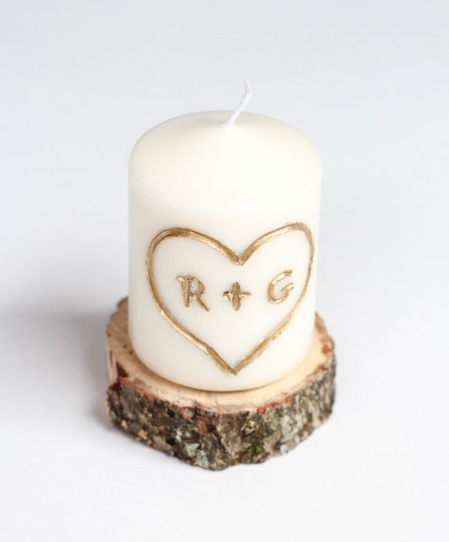 DIY Candle Carved with Initials | http://hellonatural.co/diy-carved-initial-candle/