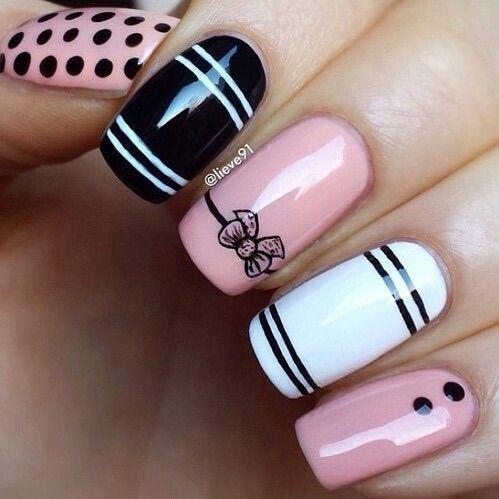 Image via We Heart It #black #nailart #nails #pink