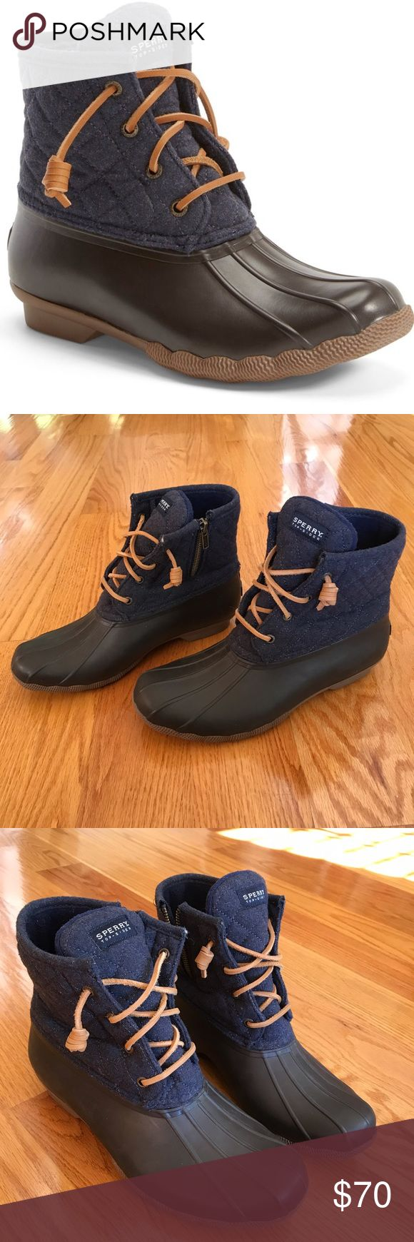 Sperry Rain boots /sperry-top-sider-saltwater-waterproof-rain-boot-navy-brown-wool- have been worn couple times but they are in new condition, no flaws at all 🚫no trades Sperry Top-Sider Shoes Winter & Rain Boots