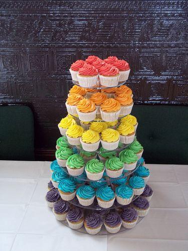 Rainbow Cupcakes./ centralfloridaweddingflowers/ www.callaraesfloralevents.com                                                                                                                                                     Más