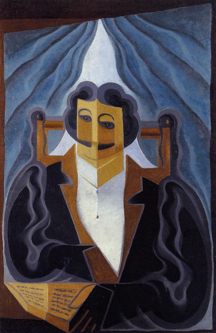 Juan Gris (1887-1927) was een Spaanse kunstschilder. Gris woonde het grootste deel van zijn leven in Frankrijk. Hij liet zich in Parijs (1906)  leiden door zijn vriend en landgenoot Pablo Picasso. In 1911 ontstonden zijn eerste schilderijen, waarvoor hij monochrome grijstinten en aardkleuren gebruikte. In 1913 begon hij kleurrijker te schilderen, maar steeds in kubistische stijl..