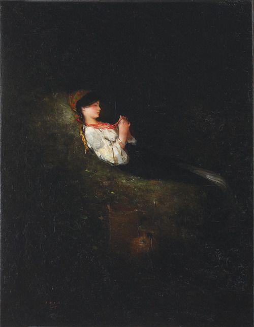 Little peasant girl resting, Nicolae Grigorescu. Romanian (1838 - 1907)