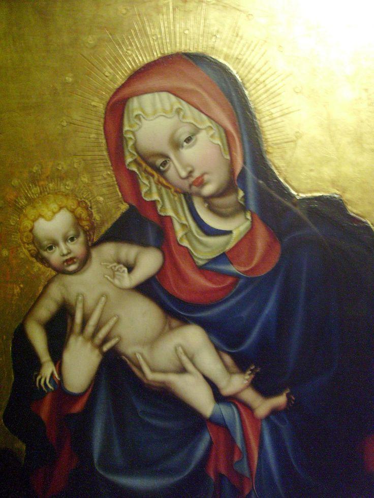 Madone aux 12 médaillons.Madone et enfant.  Maitre Bohemien anonyme du XV ème siècle.