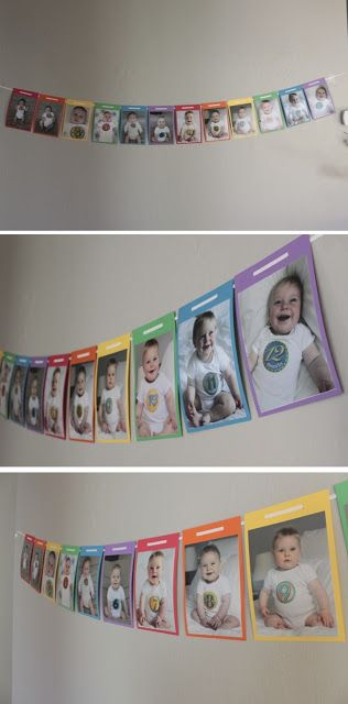 Take all of the monthly pics and make into a banner/ hang for a birthday party/ wedding of pictures of them from babies to current age