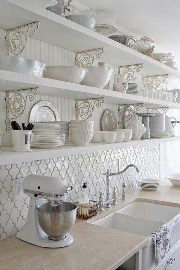 Moroccan tile backsplash ideas.  White kitchen, open shelves with farmhouse sink.