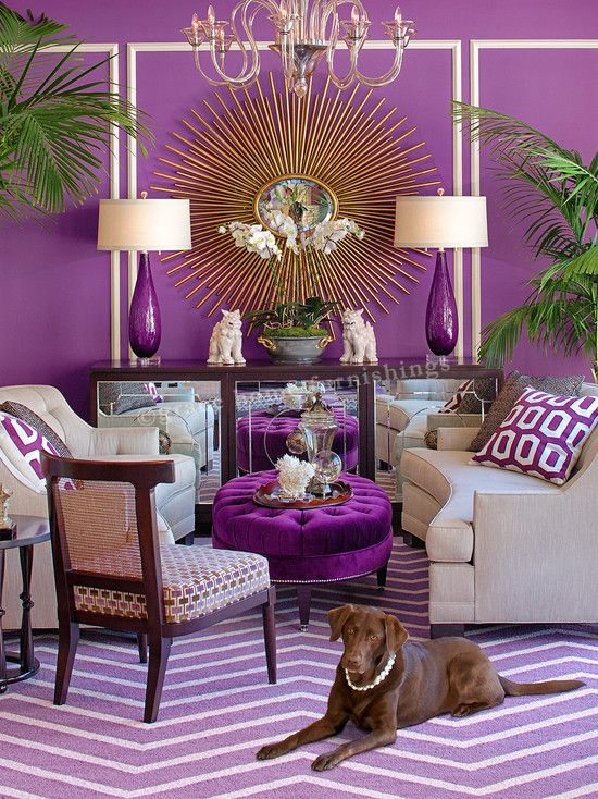 Hollywood Regency Style Decorating Design. Interesting but I think the chocolate lab completes it ;)