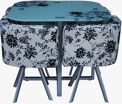 Spectrum Dining Table Set   Glass Top With 4 Suede Leather Chairs   New  (DT859