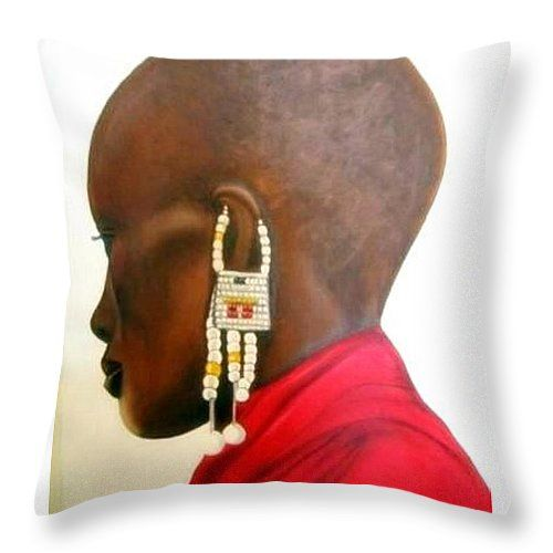 "Masai Woman Throw Pillow 14"" x 14"" by Tracey Armstrong"
