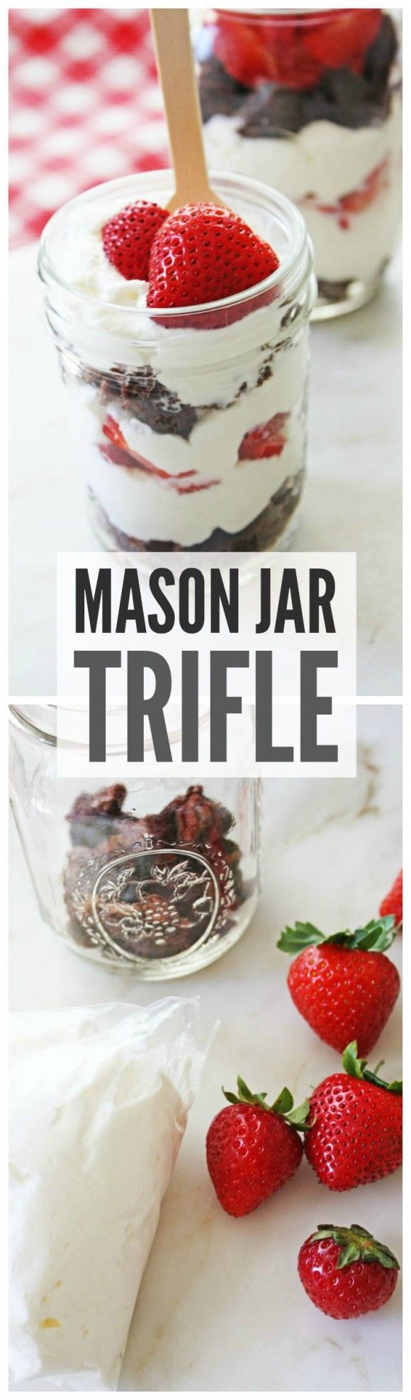 Mason jar trifle recipe made with brownies, strawberries and whipped cream. This is the perfect summer dessert! See more summer recipes at CatchMyParty.com.