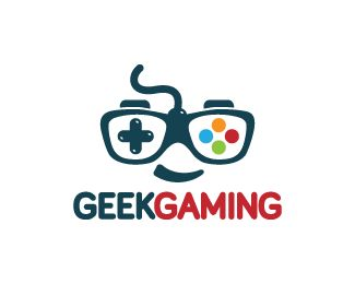 Geek Gaming Logo design - Logo design of a nerd or geek with the glasses shaped like a gaming joystick.  Price $299.00