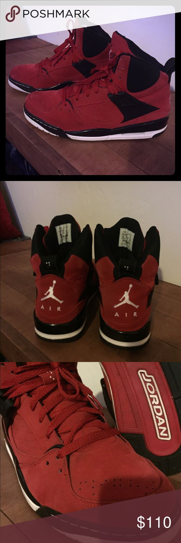 Rare Jordan flight 45 red suede 2010 Jordan flight 45 high in red suede rare in size and color in great condition for being seven years old. See pic on back of right shoe tiny rip barley noticeable on foot can be repaired. Suede is excellent condition Jordan Shoes Sneakers