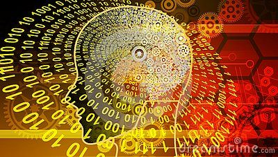 Innovation Computer Data mind cogs Technology Banner Background. banner of old technology and new using computer circuits and old machine cogs