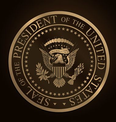 Highly detailed vector design of a monochromatic embossed, gold official Seal of the President of the United States.