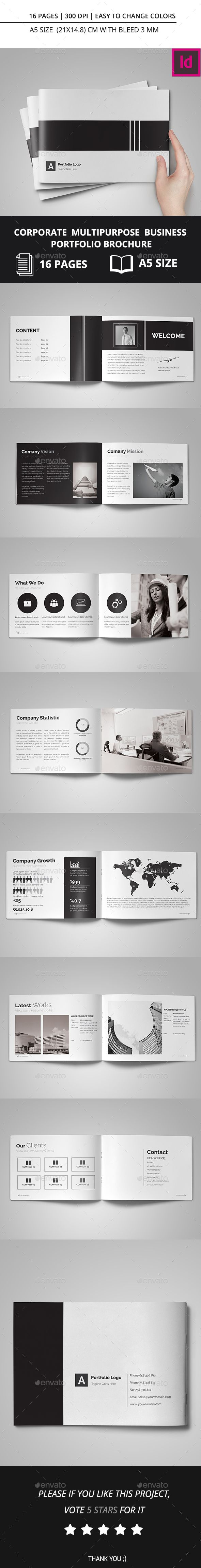 Corporate Multipurpose Business Portfolio Brochure Template InDesign INDD…