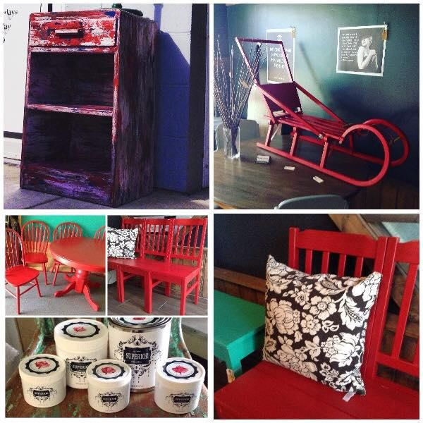Kelowna's very first DIY Furniture Paint Line!!! Kelowna, Okanagan Superior Paint Co. Fireball Red #boatwood #christmas #sleigh #table #chairs #red #fireball #chalk #painted #furniture #diy