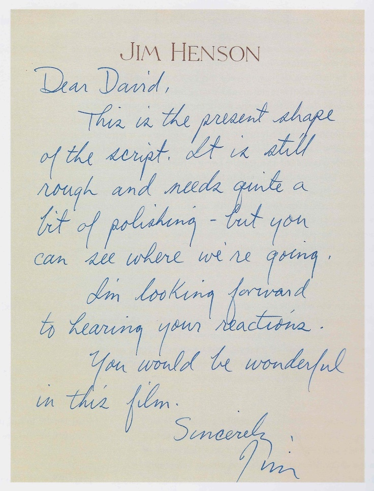 Letter from Jim Henson to David Bowie regarding Labyrinth