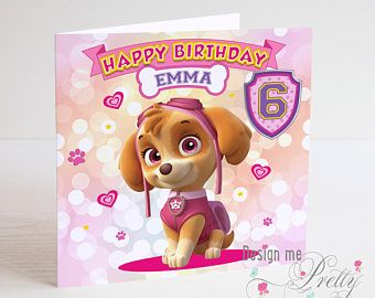 Paw Patrol Skye Personalised Birthday Card