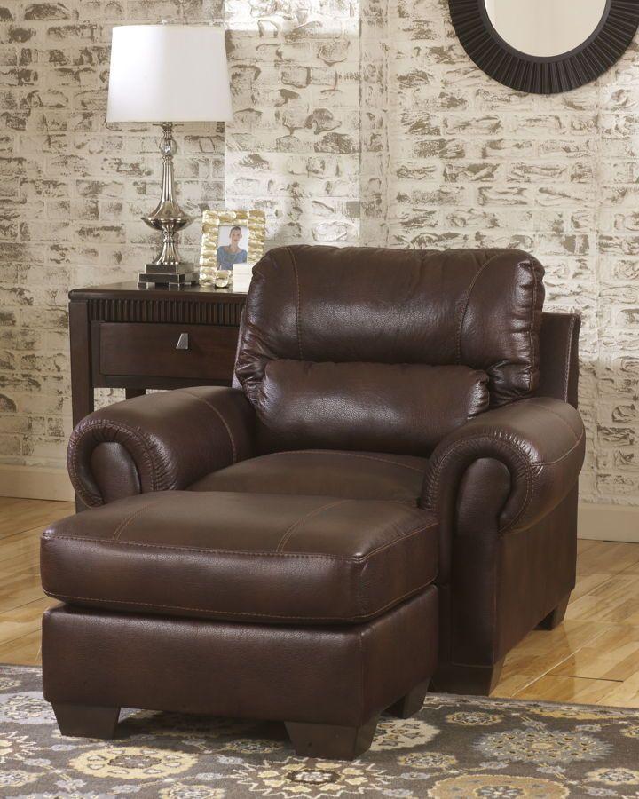 Vevinia   Chestnut Fabric Chair W/Ottoman Set